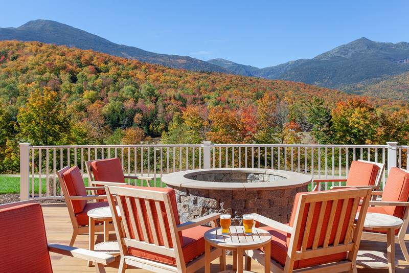 Fall Foliage of Mount Washington viewed from Outside Deck