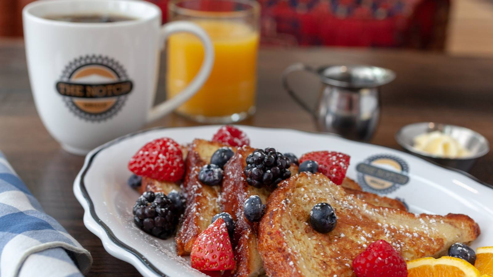 breakfast dish with french toast and fruit